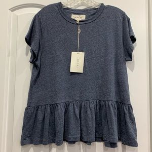 NWT THE GREAT. distressed The Ruffle Tee 1